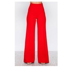 Bright red trousers